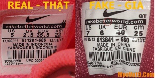 Phân biệt giày Nike chính hãng qua tem